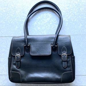 Levenger Black Leather Briefcase Tote Bag 🔥🔥🔥